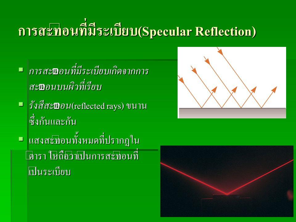 การสะท้อนที่มีระเบียบ(Specular Reflection)  การสะท้อนที่มีระเบียบเกิดจากการ สะท้อนบนผิวที่เรียบ  รังสีสะท้อน(reflected rays) ขนาน ซึ่งกันและกัน  แส