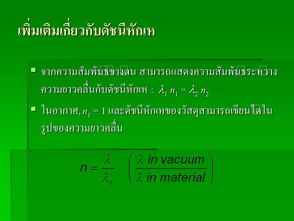เพิ่มเติมเกี่ยวกับดัชนีหักเห  จากความสัมพันธ์ข้างต้น สามารถแสดงความสัมพันธ์ระหว่าง ความยาวคลื่นกับดัชนีหักเห : 1 n 1 = 2 n 2  ในอากาศ, n 1 = 1 และดั