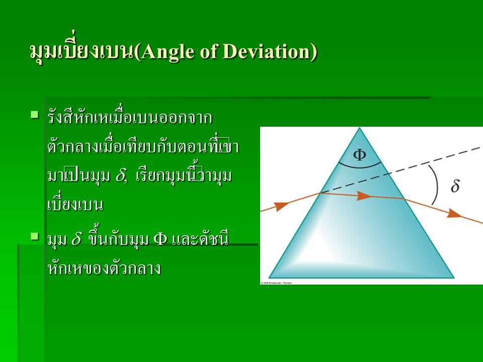 มุมเบี่ยงเบน(Angle of Deviation)  รังสีหักเหเมื่อเบนออกจาก ตัวกลางเมื่อเทียบกับตอนที่เข้า มาเป็นมุม , เรียกมุมนี้ว่ามุม เบี่ยงเบน  มุม  ขึ้นกับมุม
