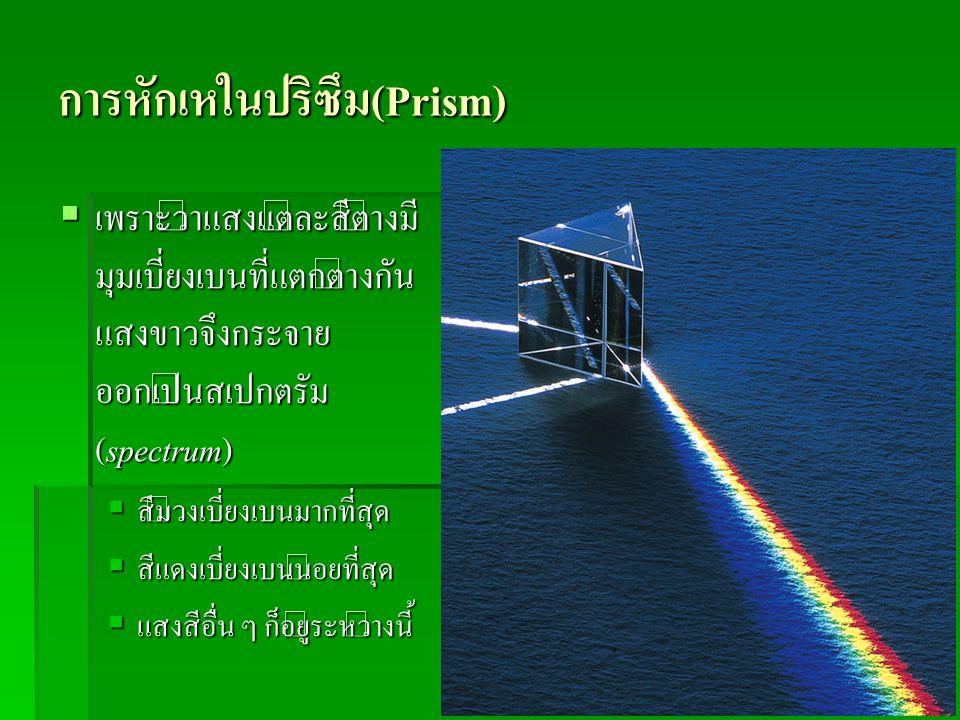การหักเหในปริซึม(Prism)  เพราะว่าแสงแต่ละสีต่างมี มุมเบี่ยงเบนที่แตกต่างกัน แสงขาวจึงกระจาย ออกเป็นสเปกตรัม (spectrum)  สีม่วงเบี่ยงเบนมากที่สุด  ส