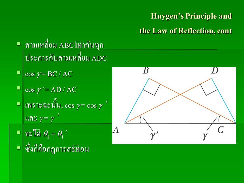 Huygen's Principle and the Law of Reflection, cont  สามเหลี่ยม ABC เท่ากันทุก ประการกับสามเหลี่ยม ADC  cos  = BC / AC  cos  ' = AD / AC  เพราะฉะ