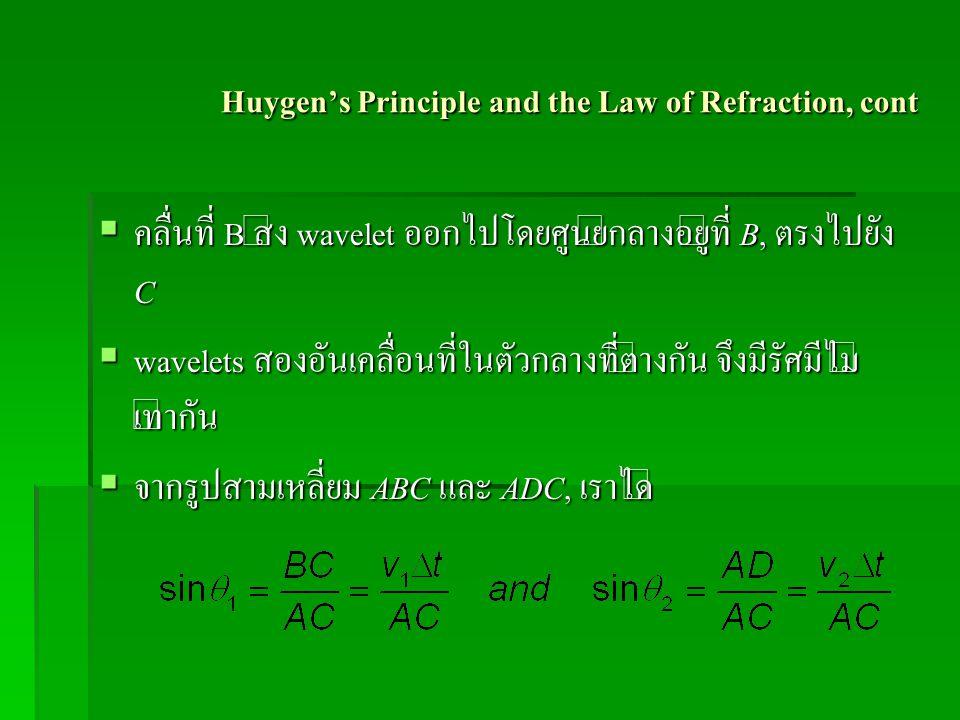 Huygen's Principle and the Law of Refraction, cont  คลื่นที่ B ส่ง wavelet ออกไปโดยศูนย์กลางอยู่ที่ B, ตรงไปยัง C  wavelets สองอันเคลื่อนที่ในตัวกลา