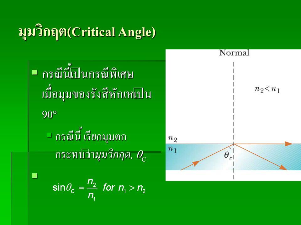 มุมวิกฤต(Critical Angle)  กรณีนี้เป็นกรณีพิเศษ เมื่อมุมของรังสีหักเหเป็น 90°  กรณีนี้ เรียกมุมตก กระทบว่ามุมวิกฤต,  C 