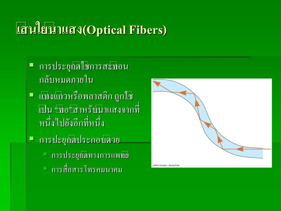 """เส้นใยนำแสง(Optical Fibers)  การประยุกต์ใช้การสะท้อน กลับหมดภายใน  แท่งแก้วหรือพลาสติก ถูกใช้ เป็น """"ท่อ""""สำหรับนำแสงจากที่ หนึ่งไปยังอีกที่หนึ่ง  กา"""