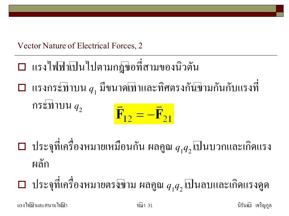 Vector Nature of Electrical Forces, 2  แรงไฟฟ้าเป็นไปตามกฎข้อที่สามของนิวตัน  แรงกระทำบน q 1 มีขนาดเท่าและทิศตรงกันข้ามกันกับแรงที่ กระทำบน q 2  ประจุที่เครื่องหมายเหมือนกัน ผลคูณ q 1 q 2 เป็นบวกและเกิดแรง ผลัก  ประจุที่เครื่องหมายตรงข้าม ผลคูณ q 1 q 2 เป็นลบและเกิดแรงดูด แรงไฟฟ้าและสนามไฟฟ้านิรันดร์ เจริญกูลหน้า 31