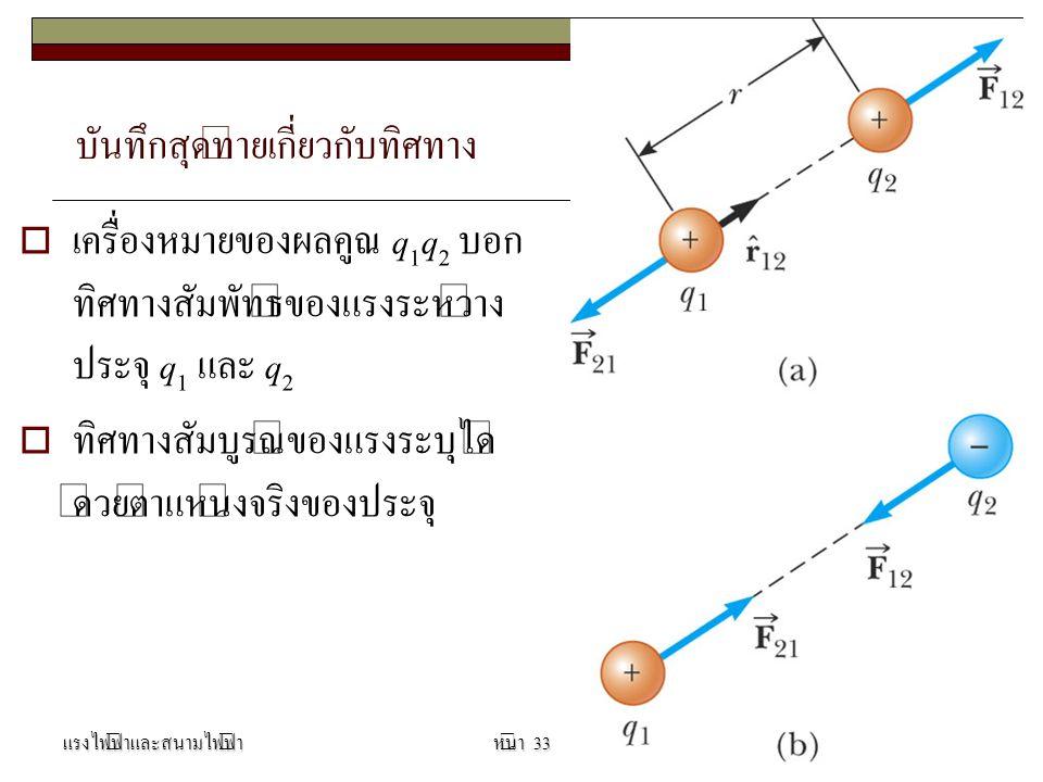 บันทึกสุดท้ายเกี่ยวกับทิศทาง  เครื่องหมายของผลคูณ q 1 q 2 บอก ทิศทางสัมพัทธ์ของแรงระหว่าง ประจุ q 1 และ q 2  ทิศทางสัมบูรณ์ของแรงระบุได้ ด้วยตำแหน่งจริงของประจุ แรงไฟฟ้าและสนามไฟฟ้านิรันดร์ เจริญกูลหน้า 33