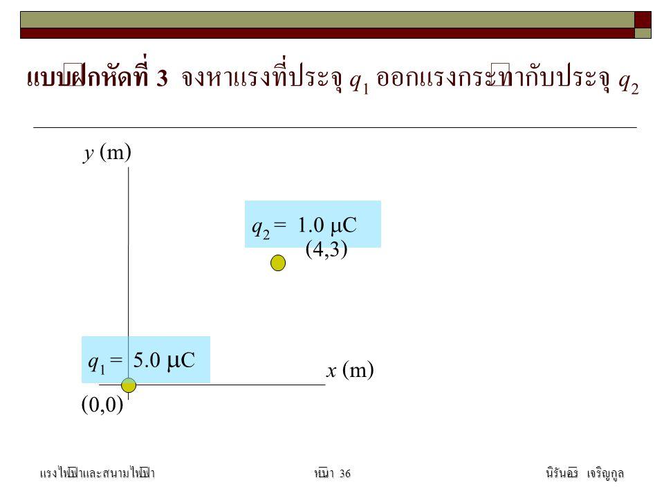 แบบฝึกหัดที่ 3 จงหาแรงที่ประจุ q 1 ออกแรงกระทำกับประจุ q 2 แรงไฟฟ้าและสนามไฟฟ้านิรันดร์ เจริญกูลหน้า 36 (0,0) x (m) y (m) q 2 = 1.0  C q 1 = 5.0  C (4,3)