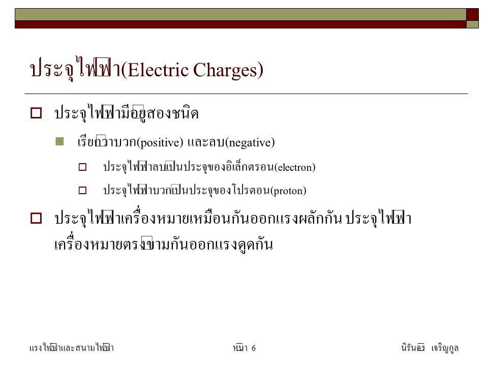 ประจุไฟฟ้า(Electric Charges)  ประจุไฟฟ้ามีอยู่สองชนิด เรียกว่าบวก(positive) และลบ(negative)  ประจุไฟฟ้าลบเป็นประจุของอิเล็กตรอน(electron)  ประจุไฟฟ้าบวกเป็นประจุของโปรตอน(proton)  ประจุไฟฟ้าเครื่องหมายเหมือนกันออกแรงผลักกัน ประจุไฟฟ้า เครื่องหมายตรงข้ามกันออกแรงดูดกัน แรงไฟฟ้าและสนามไฟฟ้านิรันดร์ เจริญกูลหน้า 6