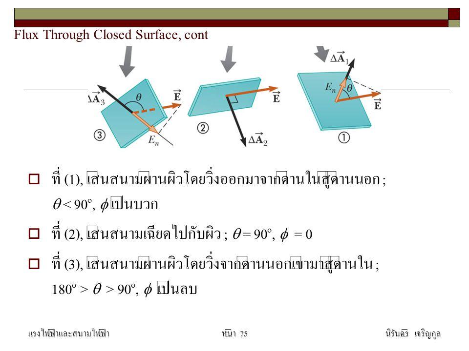 Flux Through Closed Surface, cont   ที่ (1), เส้นสนามผ่านผิวโดยวิ่งออกมาจากด้านในสู่ด้านนอก ;  < 90 o,  เป็นบวก   ที่ (2), เส้นสนามเฉียดไปกับผิว ;  = 90 o,  = 0   ที่ (3), เส้นสนามผ่านผิวโดยวิ่งจากด้านนอกเข้ามาสู่ด้านใน ; 180 o >  > 90 o,  เป็นลบ แรงไฟฟ้าและสนามไฟฟ้านิรันดร์ เจริญกูลหน้า 75