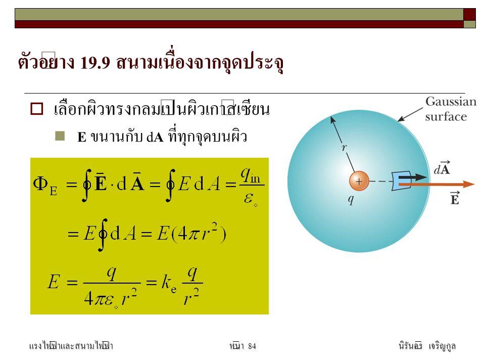 ตัวอย่าง 19.9 สนามเนื่องจากจุดประจุ  เลือกผิวทรงกลมเป็นผิวเกาส์เซียน E ขนานกับ d A ที่ทุกจุดบนผิว แรงไฟฟ้าและสนามไฟฟ้านิรันดร์ เจริญกูลหน้า 84