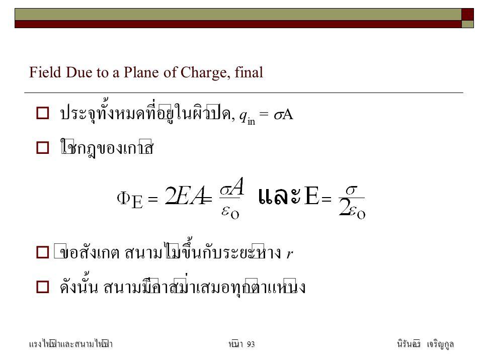 Field Due to a Plane of Charge, final  ประจุทั้งหมดที่อยู่ในผิวปิด, q in =  A  ใช้กฎของเกาส์  ข้อสังเกต สนามไม่ขึ้นกับระยะห่าง r  ดังนั้น สนามมีค