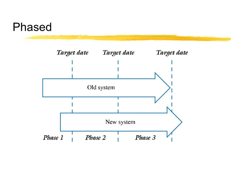  ระบบถูกนำมาใช้เป็นโมดูลเป็นกลุ่ม หรือ ส่วน ๆ แล้ว ค่อย ๆ เพิ่มขึ้น  ยอมให้ใช้แนวทางการกำหนดกลุ่มและการบริหารสำหรับ การนำโมดูลของระบบมาใช้ในต่างแผนกกันหรือต่าง สถานที่กัน  ประสบการณ์ในอดีตสามารถใช้เป็นแนวทางและช่วยทำ ให้การนำมาใช้ราบรื่นมากขึ้น  ใช้เวลานานและงบประมาณอาจบานปลายเมื่อเทียบกับ แนวทางแบบ direct cutover  ปัญหาที่เกิดขึ้นในเฟสก่อนหน้าจะส่งผลกระทบกับเฟส ถัดมา และหมายกำหนดการโดยรวม