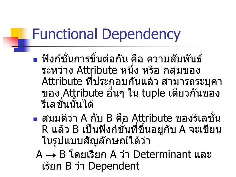Functional Dependency ฟังก์ชั่นการขึ้นต่อกัน คือ ความสัมพันธ์ ระหว่าง Attribute หนึ่ง หรือ กลุ่มของ Attribute ที่ประกอบกันแล้ว สามารถระบุค่า ของ Attri