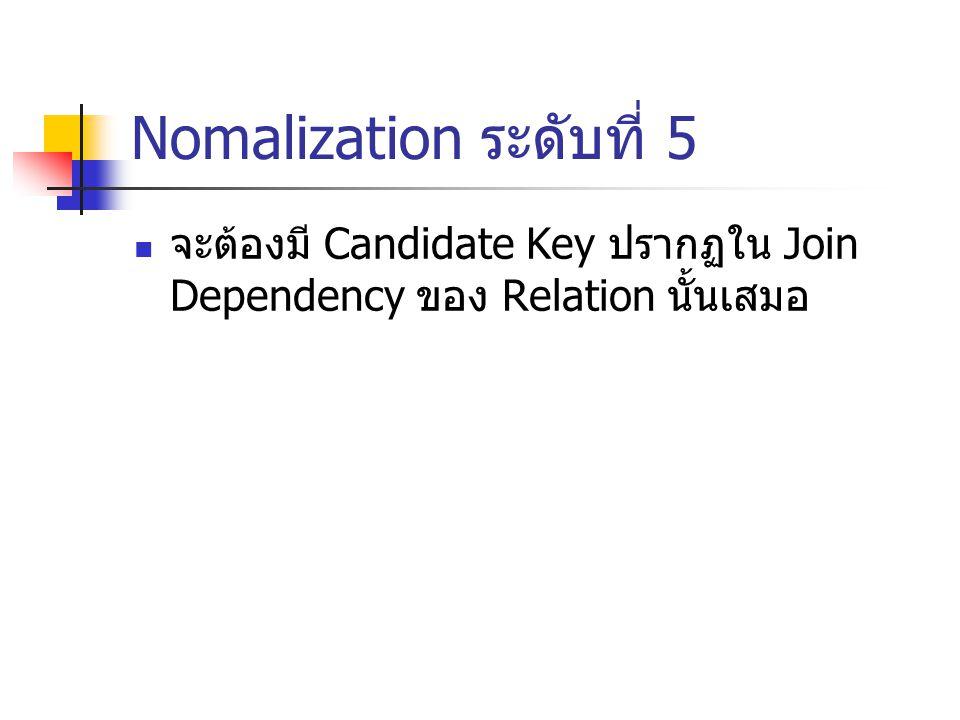 Nomalization ระดับที่ 5 จะต้องมี Candidate Key ปรากฏใน Join Dependency ของ Relation นั้นเสมอ