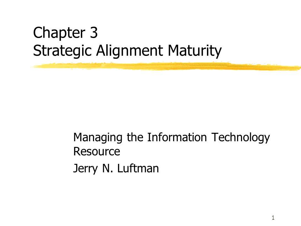 Chapter Outline  ความสำคัญของ IT และ business environment  Enablers และ inhibitors ของการทำ alignment  แนวความคิด / สิ่งสำคัญของการทำ alignment maturity  5 levels ของ Strategic Alignment Maturity  6 Criteria ที่แสดงถึงคุณลักษณะของ levels of Strategic Alignment Model  การประเมิน Strategic Alignment Maturity  กระบวนการการทำ Alignment Process