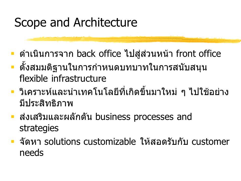 Scope and Architecture  ดำเนินการจาก back office ไปสู่ส่วนหน้า front office  ตั้งสมมติฐานในการกำหนดบทบาทในการสนับสนุน flexible infrastructure  วิเค