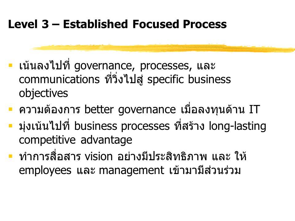 Level 3 – Established Focused Process  เน้นลงไปที่ governance, processes, และ communications ที่วิ่งไปสู่ specific business objectives  ความต้องการ