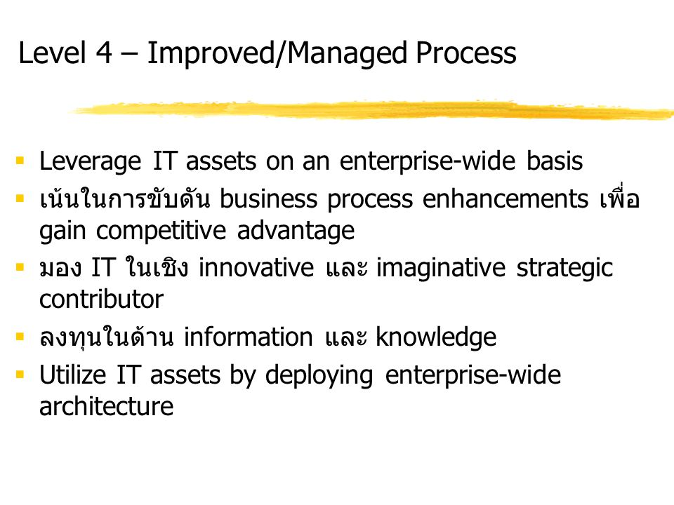 Level 4 – Improved/Managed Process  Leverage IT assets on an enterprise-wide basis  เน้นในการขับดัน business process enhancements เพื่อ gain competitive advantage  มอง IT ในเชิง innovative และ imaginative strategic contributor  ลงทุนในด้าน information และ knowledge  Utilize IT assets by deploying enterprise-wide architecture