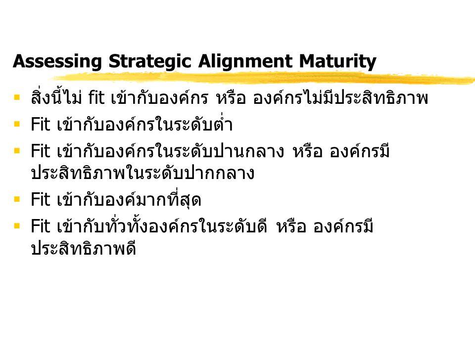 Assessing Strategic Alignment Maturity  สิ่งนี้ไม่ fit เข้ากับองค์กร หรือ องค์กรไม่มีประสิทธิภาพ  Fit เข้ากับองค์กรในระดับต่ำ  Fit เข้ากับองค์กรในร