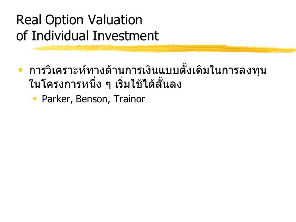Real Option Valuation of Individual Investment  การวิเคราะห์ทางด้านการเงินแบบดั้งเดิมในการลงทุน ในโครงการหนึ่ง ๆ เริ่มใช้ได้สั้นลง  Parker, Benson,
