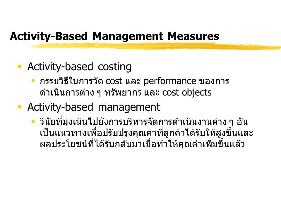 Activity-Based Management Measures  Activity-based costing  กรรมวิธีในการวัด cost และ performance ของการ ดำเนินการต่าง ๆ ทรัพยากร และ cost objects 