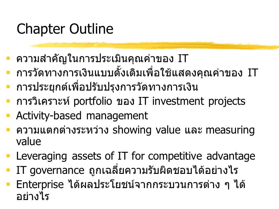 Chapter Outline  ความสำคัญในการประเมินคุณค่าของ IT  การวัดทางการเงินแบบดั้งเดิมเพื่อใช้แสดงคุณค่าของ IT  การประยุกต์เพื่อปรับปรุงการวัดทางการเงิน 