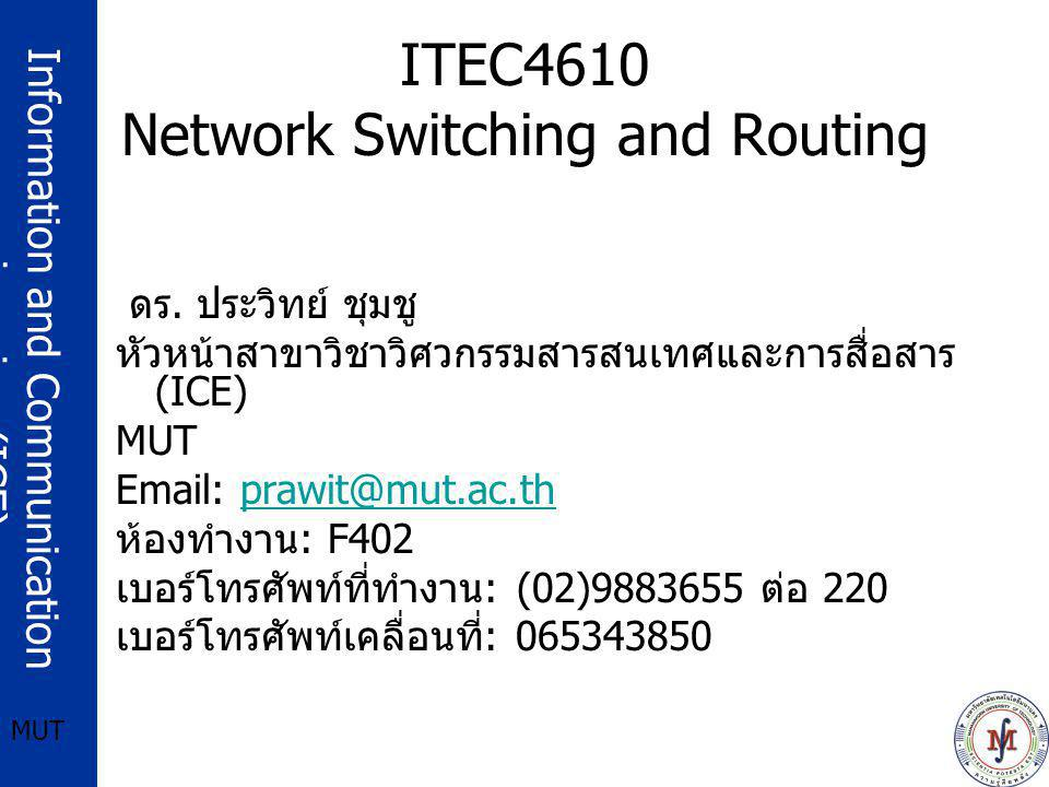 Information and Communication engineering (ICE) MUT BGP Finite State Machine (FSM) IDLE –State when BGP peer refuses any incoming connections CONNECT –State in which BGP peer is waiting for its TCP connection to be completed ACTIVE –State in which BGP peer is trying to acquire a peer by listening and accepting TCP connection OPENSENT –BGP pee waiting for OPEN message from its peer OPENCONFIRM –BGP peer is wating for KEEPALIVE or NOTIFICATION messages from its peer ESTABLISHED –BGP peer connection is established and exchanges UPDATE, NOTIFICATION, and KEEPALIVE messages with its peer.