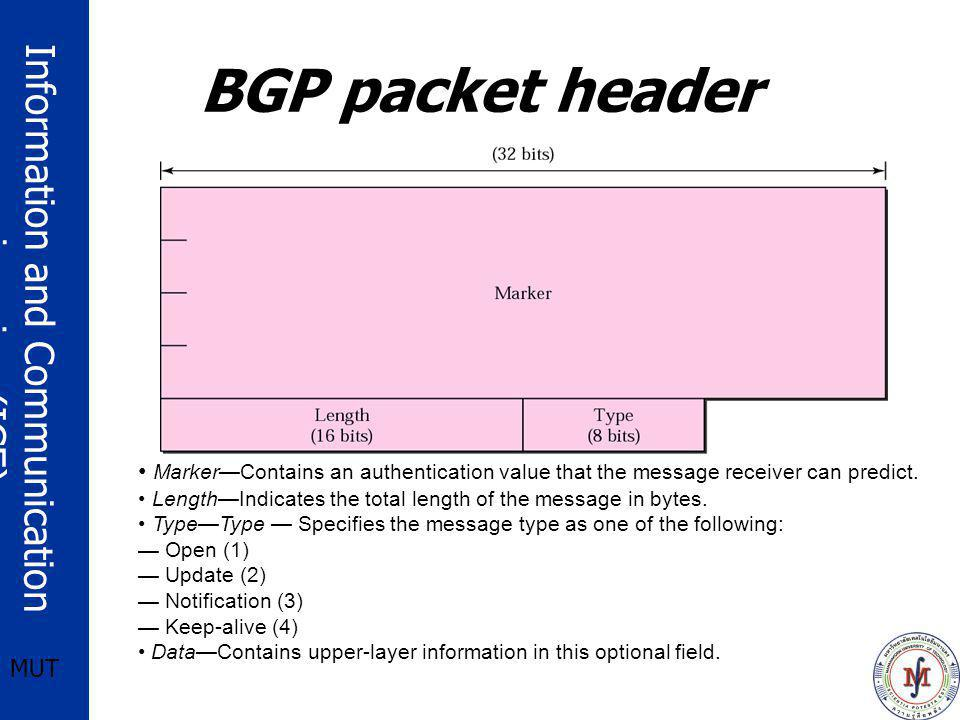 Information and Communication engineering (ICE) MUT BGP packet header Marker—Contains an authentication value that the message receiver can predict. L