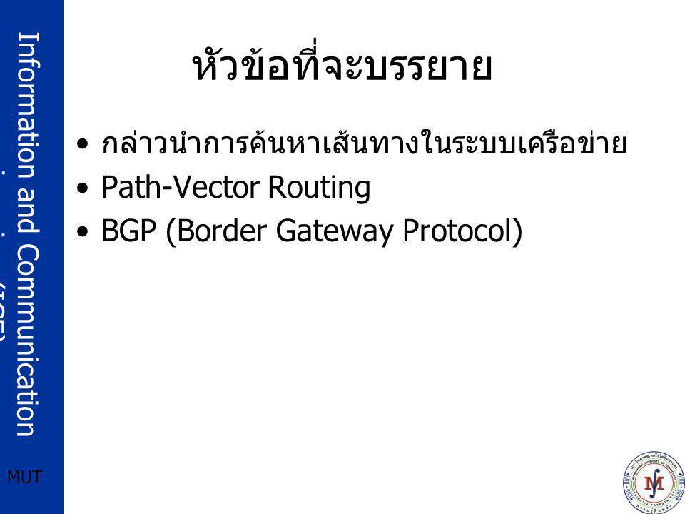 Information and Communication engineering (ICE) MUT หัวข้อที่จะบรรยาย กล่าวนำการค้นหาเส้นทางในระบบเครือข่าย Path-Vector Routing BGP (Border Gateway Pr