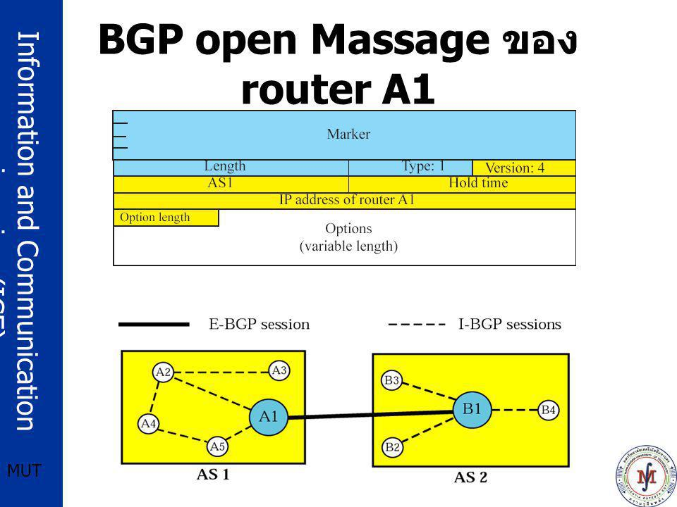 Information and Communication engineering (ICE) MUT BGP open Massage ของ router A1