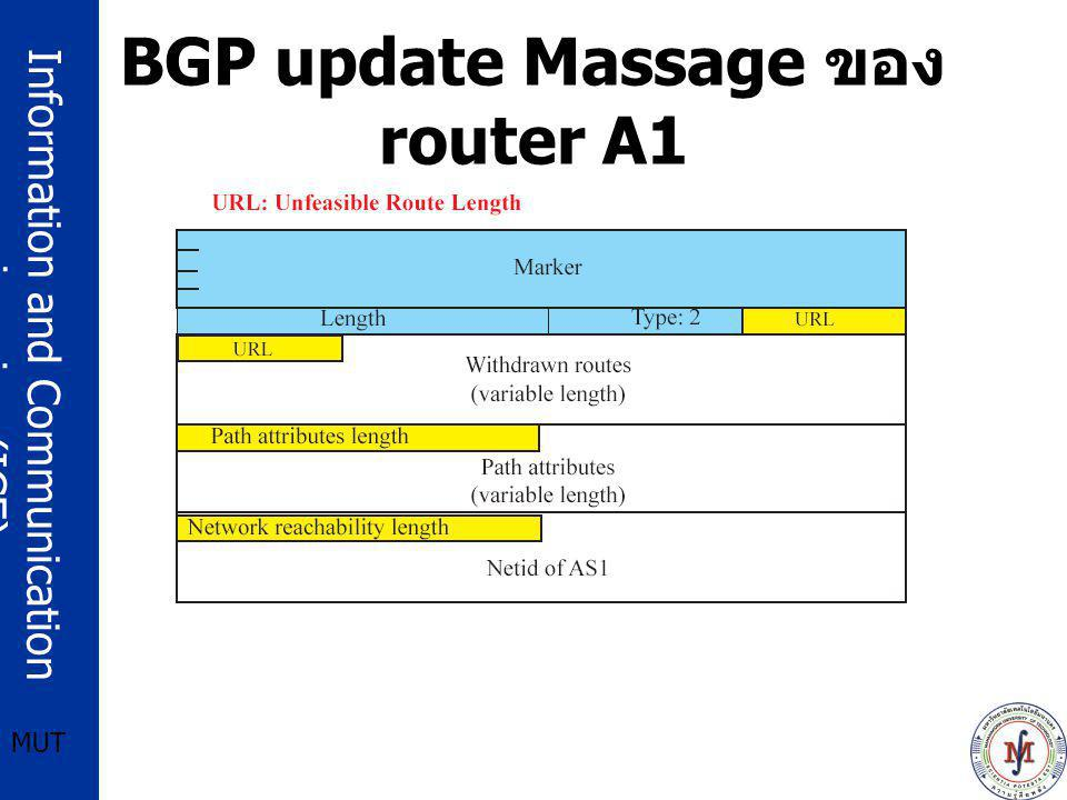 Information and Communication engineering (ICE) MUT BGP update Massage ของ router A1
