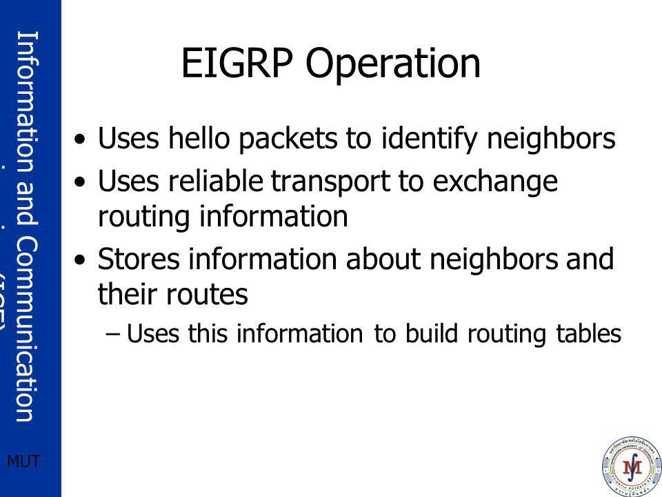 Information and Communication engineering (ICE) MUT EIGRP Operation Uses hello packets to identify neighbors Uses reliable transport to exchange routi