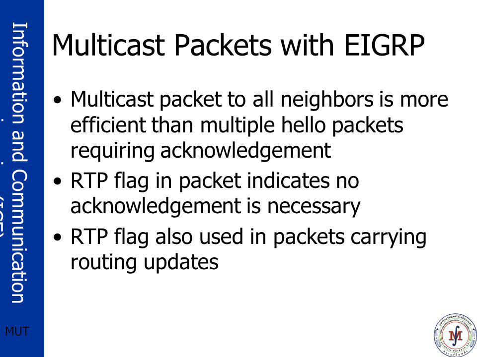 Information and Communication engineering (ICE) MUT Multicast Packets with EIGRP Multicast packet to all neighbors is more efficient than multiple hel