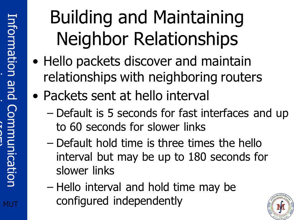 Information and Communication engineering (ICE) MUT Building and Maintaining Neighbor Relationships Hello packets discover and maintain relationships