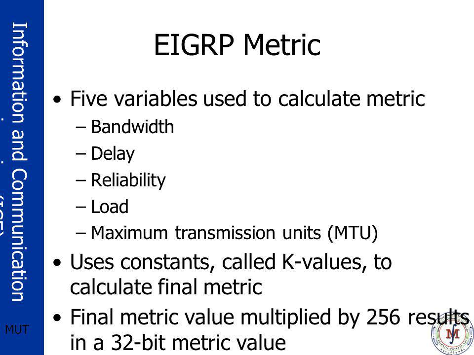 Information and Communication engineering (ICE) MUT EIGRP Metric Five variables used to calculate metric –Bandwidth –Delay –Reliability –Load –Maximum