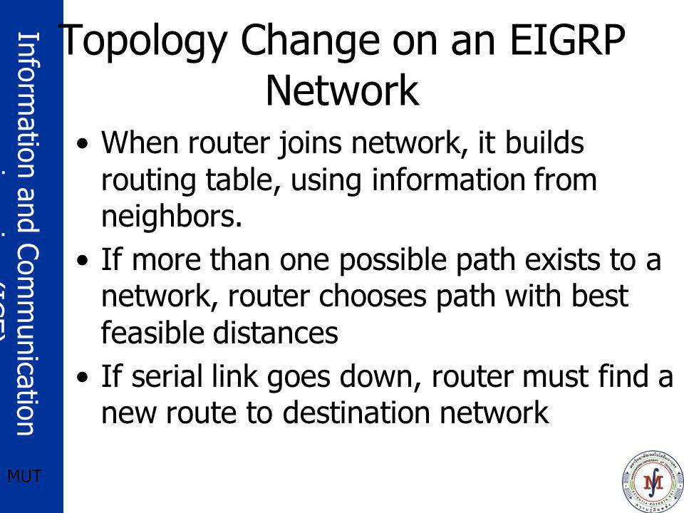 Information and Communication engineering (ICE) MUT Topology Change on an EIGRP Network When router joins network, it builds routing table, using info