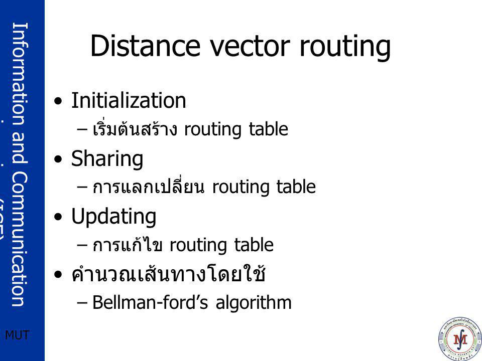 Information and Communication engineering (ICE) MUT Distance vector routing Initialization – เริ่มต้นสร้าง routing table Sharing – การแลกเปลี่ยน routi