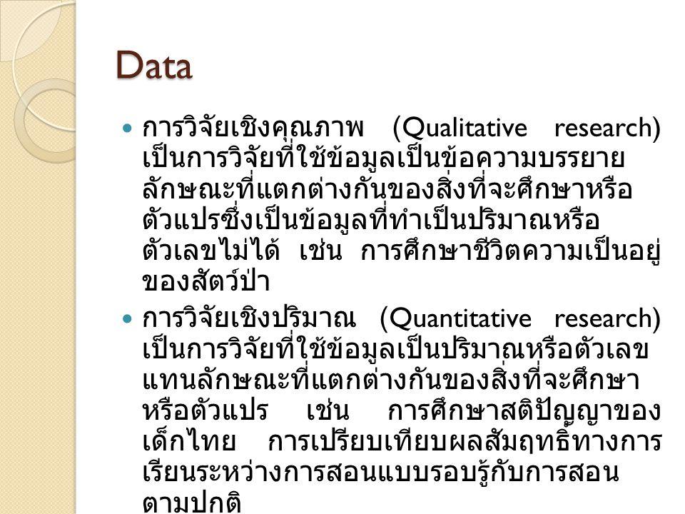 Data การวิจัยเชิงคุณภาพ (Qualitative research) เป็นการวิจัยที่ใช้ข้อมูลเป็นข้อความบรรยาย ลักษณะที่แตกต่างกันของสิ่งที่จะศึกษาหรือ ตัวแปรซึ่งเป็นข้อมูล