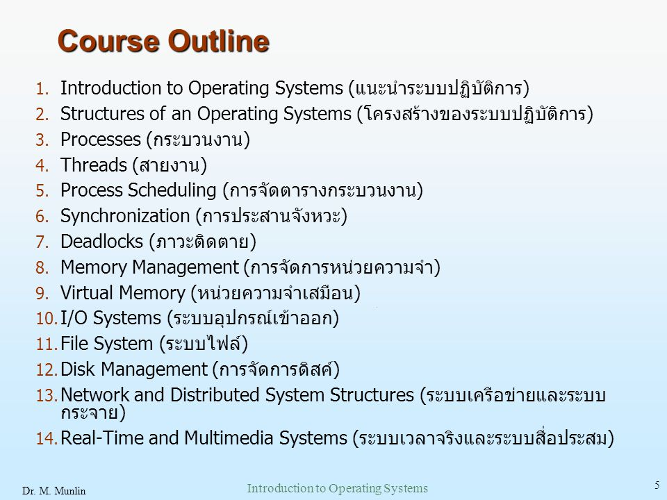 Dr. M. Munlin Introduction to Operating Systems 36 Memory Layout for Multiprogramming System