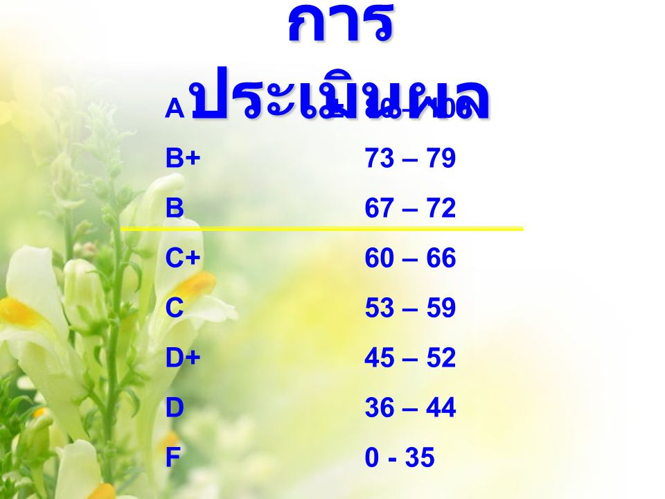 การ ประเมินผล A ±80 – 100 B+73 – 79 B67 – 72 C+60 – 66 C53 – 59 D+45 – 52 D36 – 44 F0 - 35