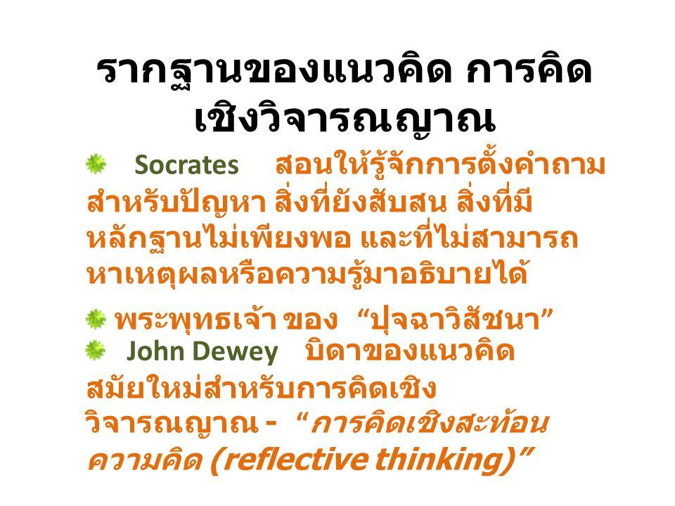 รากฐานของแนวคิด การคิด เชิงวิจารณญาณ Socrates สอนให้รู้จักการตั้งคำถาม สำหรับปัญหา สิ่งที่ยังสับสน สิ่งที่มี หลักฐานไม่เพียงพอ และที่ไม่สามารถ หาเหตุผ