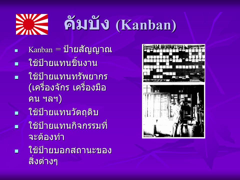 คัมบัง (Kanban) Kanban = ป้ายสัญญาณ Kanban = ป้ายสัญญาณ ใช้ป้ายแทนชิ้นงาน ใช้ป้ายแทนชิ้นงาน ใช้ป้ายแทนทรัพยากร ( เครื่องจักร เครื่องมือ คน ฯลฯ ) ใช้ป้