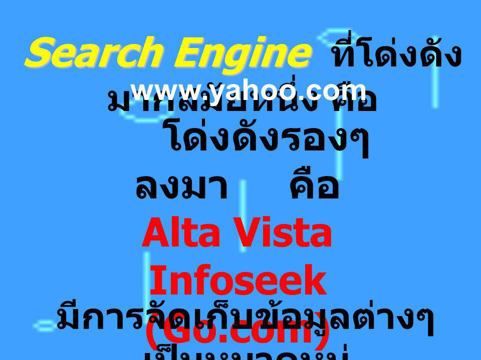 Search Engine Search Engine ที่โด่งดัง มากสมัยหนึ่ง คือ www.yahoo.com โด่งดังรองๆ ลงมา คือ Alta Vista Infoseek (Go.com) Excite มีการจัดเก็บข้อมูลต่างๆ