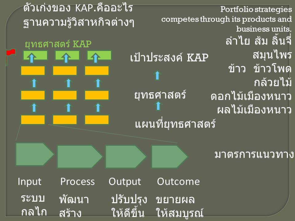 ความ ร่วมมื อ ภายใน ภายน อก Lean production การผลิตเชิงนิเวศทักษะ บุคล ากร เทคโน โ ล ยี ที่ ทั น ส มั ย ฐานการผลิต ใหม่ สร้างเครือข่าย ความร่วมมือ Cluster ปรับโครงสร้างการผลิต พัฒนาเทคโนโลยี เพื่อนวัตกรรม พัฒนาห่วงโซ่อุปทาน Supply chain Linkage พัฒนาทรัพยากรมนุษย์ ภูมิปัญญา พัฒนาระบบการผลิต แบบ Lean นวัตกรรมกระบวนการผลิต คุณภาพ ต้นทุน ความเร็ว หลากหลาย สินค้าอุตสาหกรรม Niches อุตสาหกรรมที่ สร้างคุณค่าร่วม ให้กับสังคม สิ่งแวดล้อม พลังงาน เทคโนโลยีสะอาด / สีเขียว ตลาดในและ ต่างประเทศ Eco industrial town Product champion การวิจัยพัฒนา โครงสร้างพื้นฐาน Logistic Transportation Service provider Data based เทคโนโลยีและ นวัตกรรม ความร่วมมือ ในภูมิภาค พัฒนาปัจจัยเอื้อต่อธุรกิจ Funding ประเด็น ยุทธศาสตร์ เป้าหมาย ยุทธศาสตร์ Future capabilities for future success Enabling process high performing organisation Capacity Best use of resource Purpose fit for today challenges and ready for tomorrow task Outsource Procurement Product technology Product development ปรับปรุงกฎระเบียบ ภาษี ยุทธศาสตร์ แผนที่ ยุทธศาสตร์ ผู้เชียวชาญ ประสิทธิภาพ การบริหารจัดการ การเกษตร เชิงนิเวศที่สะอาด องค์ความรู้ใหม่