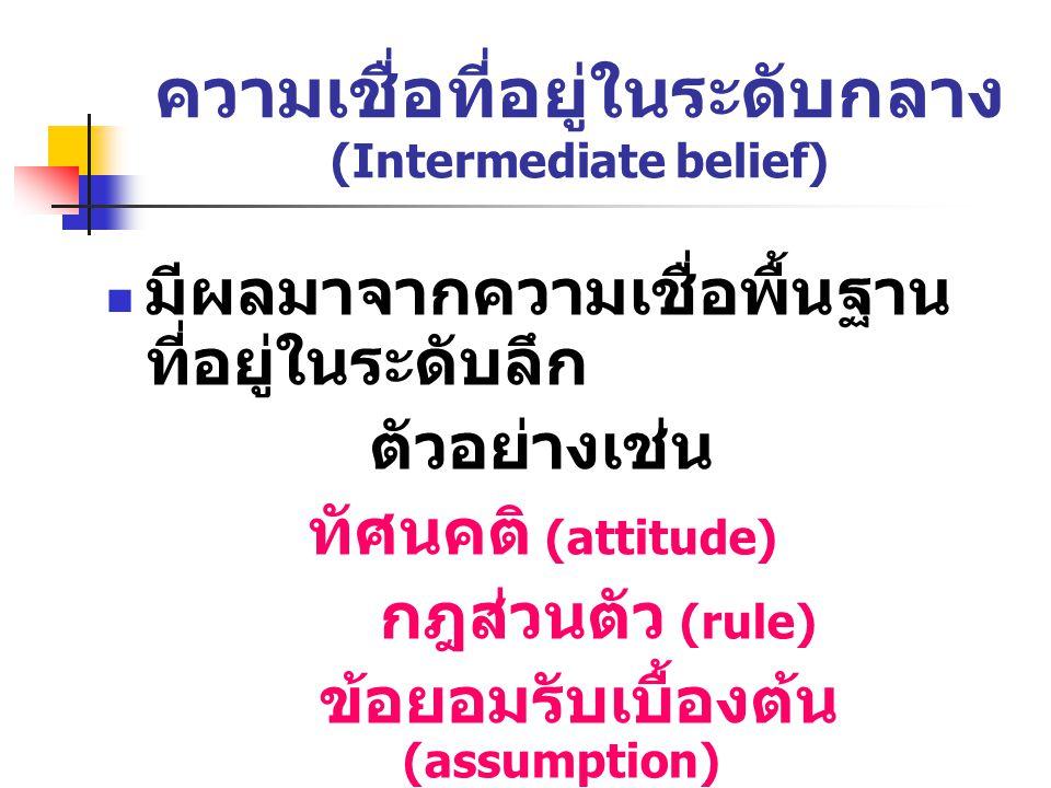 ความเชื่อที่อยู่ในระดับกลาง (Intermediate belief) มีผลมาจากความเชื่อพื้นฐาน ที่อยู่ในระดับลึก ตัวอย่างเช่น ทัศนคติ (attitude) กฎส่วนตัว (rule) ข้อยอมรับเบื้องต้น (assumption)