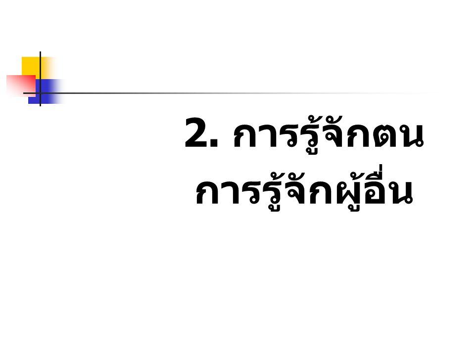 2. การรู้จักตน การรู้จักผู้อื่น