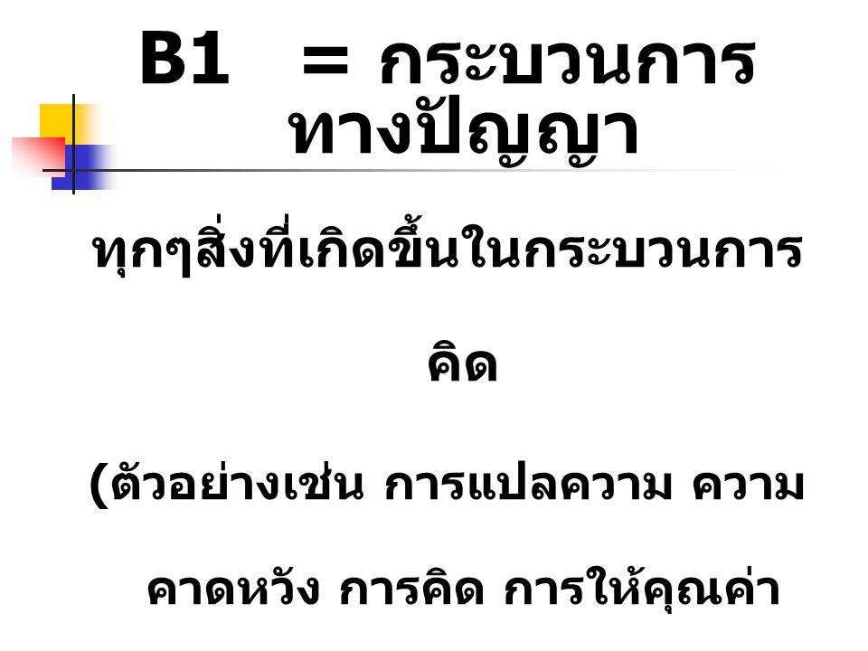 B1 = กระบวนการ ทางปัญญา ทุกๆสิ่งที่เกิดขึ้นในกระบวนการ คิด ( ตัวอย่างเช่น การแปลความ ความ คาดหวัง การคิด การให้คุณค่า ทัศนคติ ความเชื่อ การพูดกับ ตนเอ