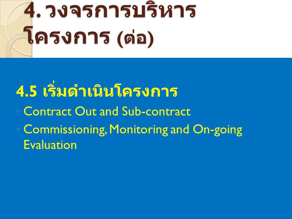 4. วงจรการบริหาร โครงการ ( ต่อ ) 4.5 เริ่มดำเนินโครงการ ◦ Contract Out and Sub-contract ◦ Commissioning, Monitoring and On-going Evaluation