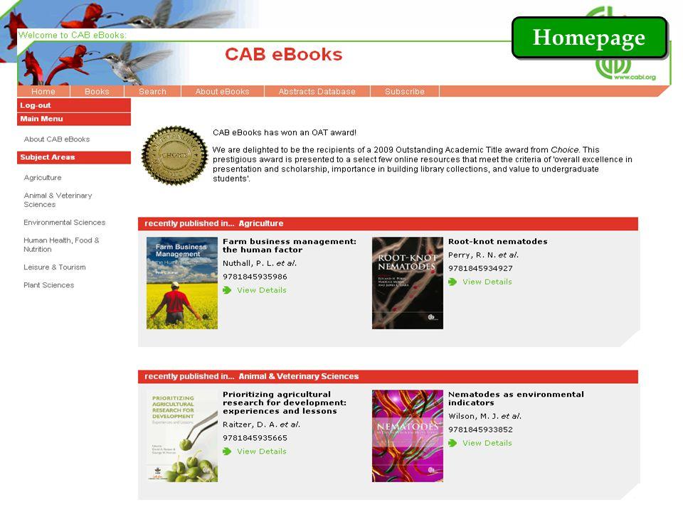 Browse by Subject Areas คลิกที่ Books เพื่อเลือกไล่เรียงหนังสือตามสาขาวิชา หรือ เลือกสาขาวิชาที่ต้องการจากแถบ Subject Areas