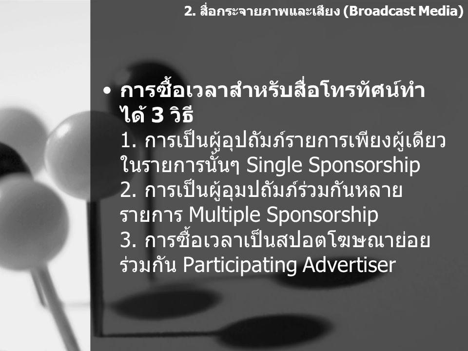 การซื้อเวลาสำหรับสื่อโทรทัศน์ทำ ได้ 3 วิธี 1. การเป็นผู้อุปถัมภ์รายการเพียงผู้เดียว ในรายการนั้นๆ Single Sponsorship 2. การเป็นผู้อุมปถัมภ์ร่วมกันหลาย